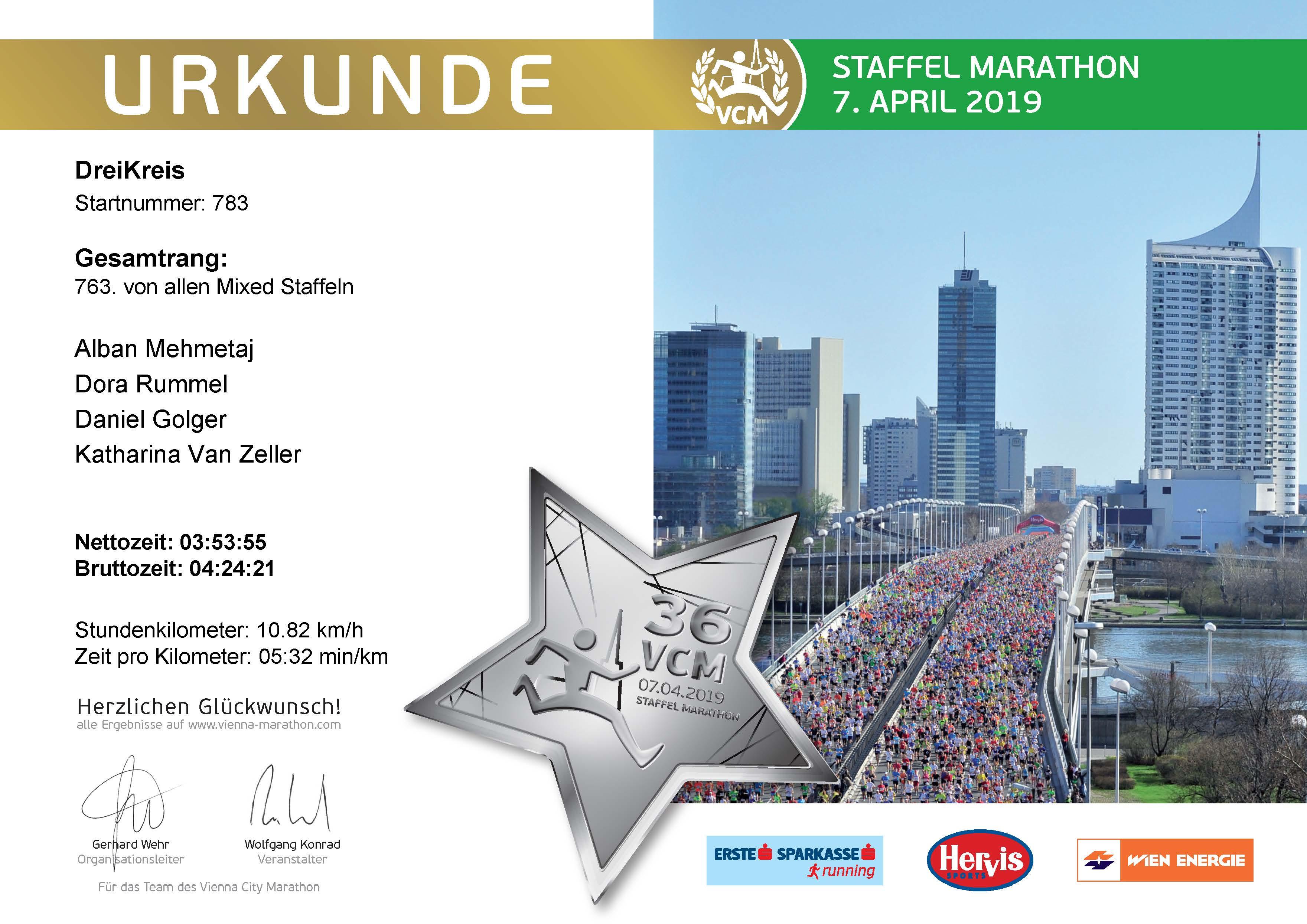 Urkunde für den Staffel Marathon 2019